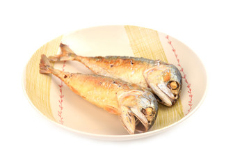 mackerel fried on a dish