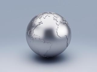 metallic world globe 3d