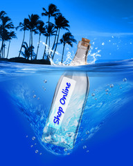 Shop Online message in a bottle.