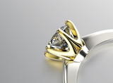 Golden Engagement Ring with Diamond or moissanite. Jewelry backg - 66845822