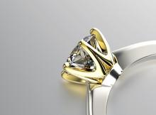 Or Bague de fiançailles avec diamant ou moissanite. Bijoux backg