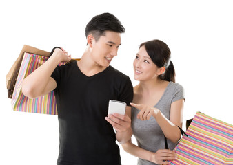 Asian couple shopping