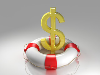 Dollar sign in the lifebuoy