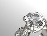Golden Engagement Ring with Diamond or moissanite. Jewelry - 66846242