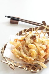 Japanese food, mushroom and Ginkgo tempura for autumn food image