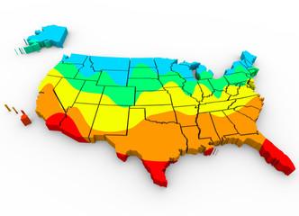 United States America Map Average Temperatures Hottest Coldest R