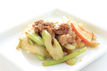 Chinese food, pork and celery stir fried