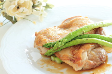 Teriyaki chicken and grilled asparagus
