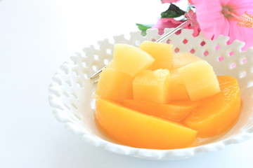 Peach and pineapple for gourmet dessert