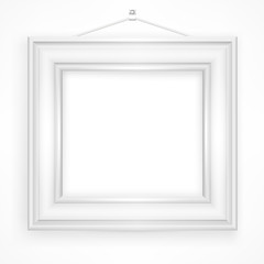 Wooden frame for picture on white background, vector
