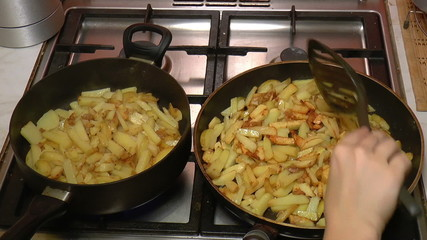 Two Frying Pan with French Fries, closeup