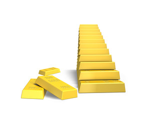 stacking gold bars in stairs shape isolated in white