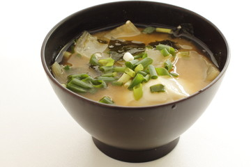 Japanese food, poached egg in miso soup