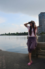 Women with Chao Phraya River at Nonthaburi Thailand