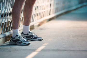 Unrecognizable man going jog run