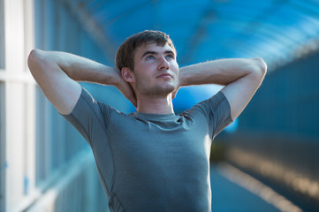 Man stretching before exercise