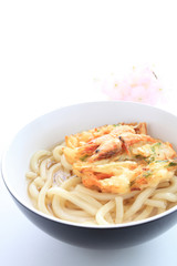 Japanese food, shrimp tempura on Udon noodles