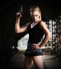 Woman in uniform with gun (dark ver)