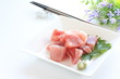 Japanse food, freshness tuna fish with Shiso herb
