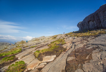 Beautiful norwegian landscape. Hiking to Preikestolen