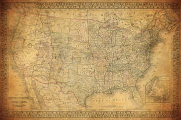 fototapeta stara mapa Stanów Zjednoczonych 1867