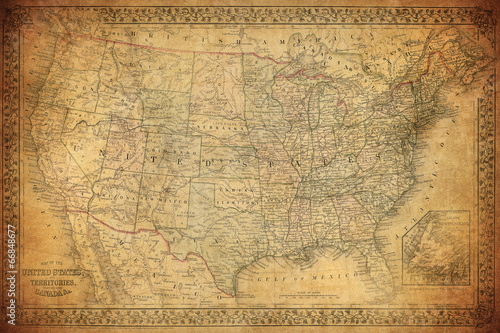 Poster Vintage map of United States 1867