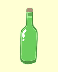 beer in a bottle vector illustration, hand drawn