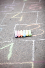 colored chalk on asphalt