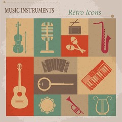 Musical equipment. Retro vector icons