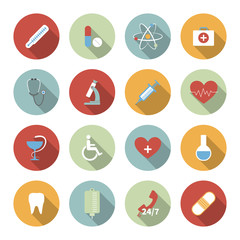 Medical vector flat icons set