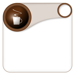 color box for entering text with cup of coffee