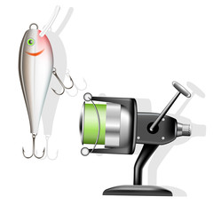 Fishing reel and wobbler. Vector illustration