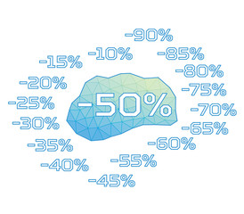 Discount labels. Vector. Triangular design.