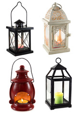 Collection of lanterns isolated on white