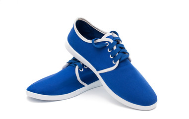blue sports shoes