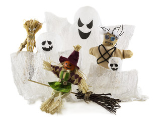 Handmade Halloween monster dolls isolated on white,