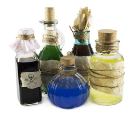 Glass bottles with magic remedies
