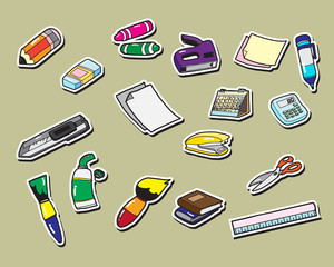 office stationery sticker icons