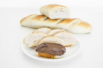 Vienna milky bread with chocolate cream.