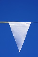 White pennant against blue sky © Arena Photo UK