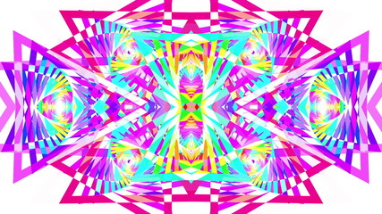 Complex, symmetrical, colorful, abstract background loop.