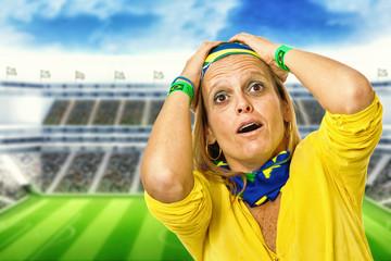 Brazilian fan desperate in a statium