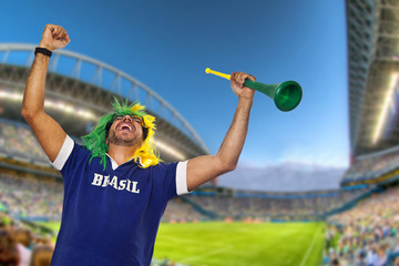 Brazilian fan celebrating at stadium