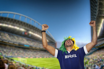 Brazilian fan screaming at stadium