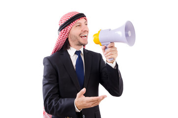 Arab yelling with loudspeaker isolated on white