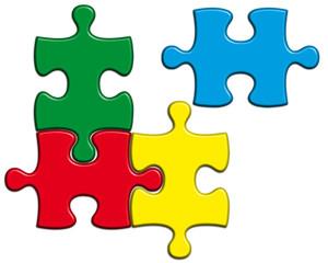 quatre pièces couleurs de puzzle