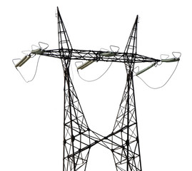 single twin steel pylon on white