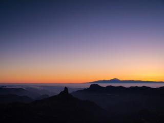 Sonnenuntergang über Gran Canaria und Teneriffa