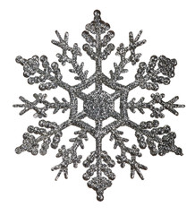 silver snowflake shape decoration isolted on white