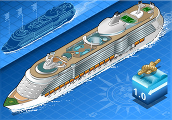 Isometric Cruise Ship in Navigation in Front View